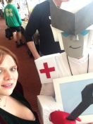 Paramedic Bot poses with Virginia.
