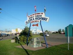 The monument at the starting point of the Alaska Highway
